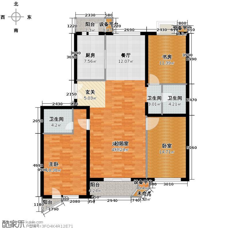 世纪东方城148.58㎡7号楼E(3居)户型2室2卫1厨
