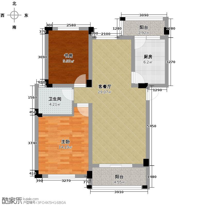 富豪新岸89.00㎡L1-4层户型2室1厅1卫1厨