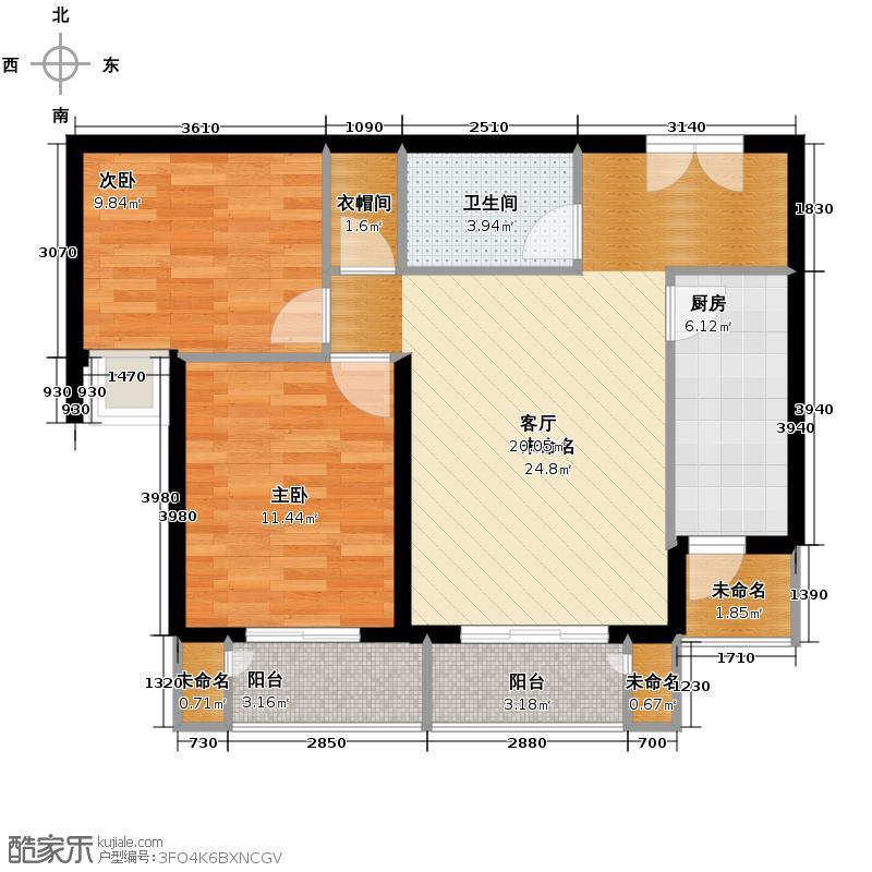 建投十号院93.00㎡H2户型2室1厅1卫