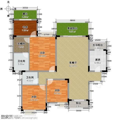 中铁山水一舍4室1厅2卫1厨135.00㎡户型图