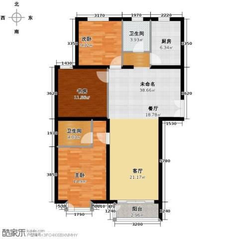 建投十号院3室2厅2卫0厨139.00㎡户型图