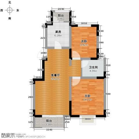 卓达三溪塘2室2厅1卫0厨93.00㎡户型图
