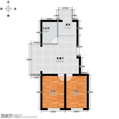 迅驰净月大学城2室1厅1卫1厨64.27㎡户型图