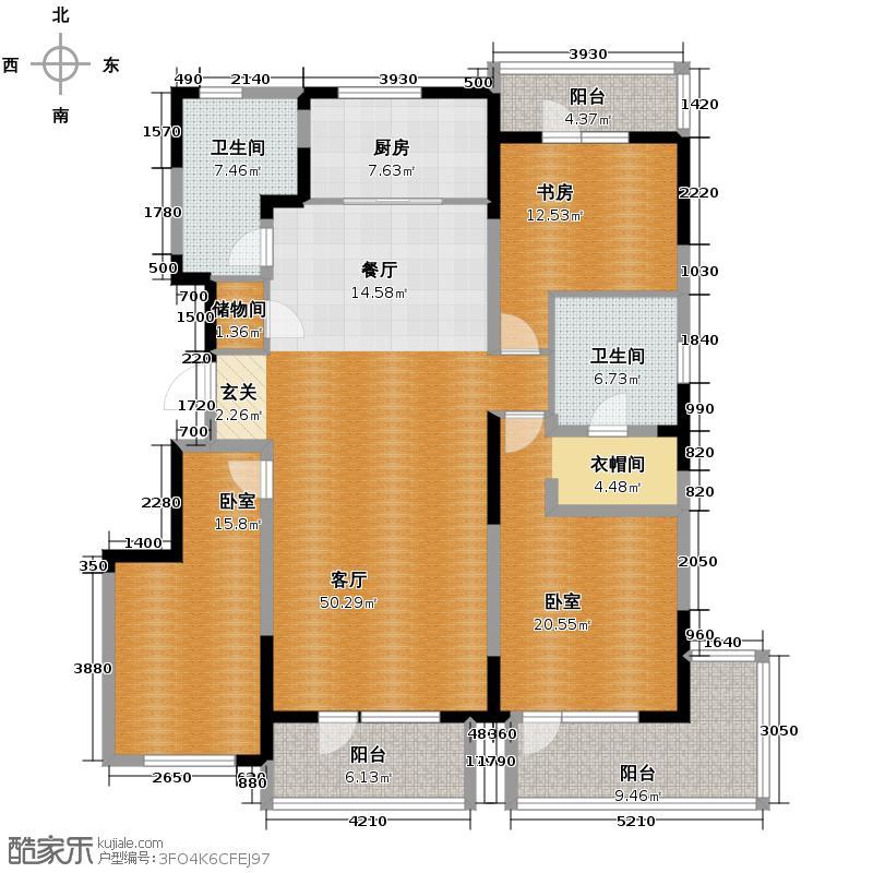 万科金域蓝湾165.00㎡户型3室2厅2卫