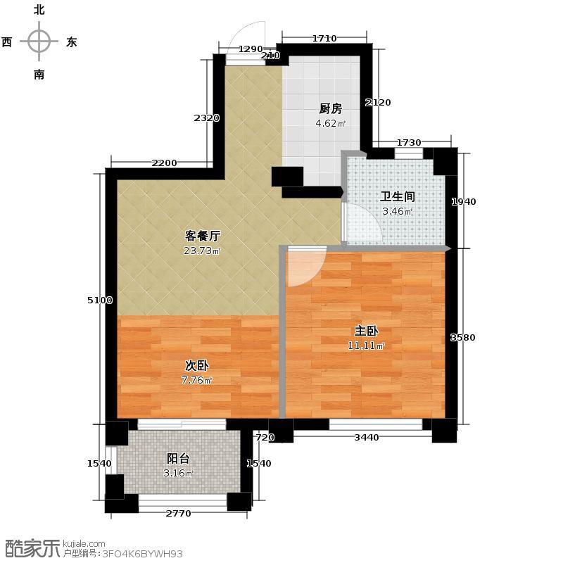 金都夏宫59.00㎡桃院B座D3偶数层户型2室2厅1卫