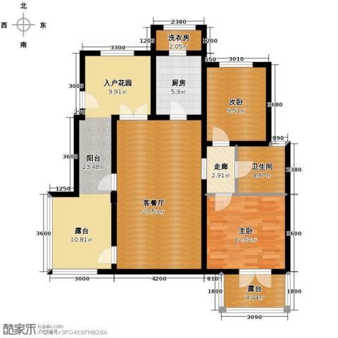 鸿坤・罗纳河谷2室1厅1卫1厨97.00㎡户型图