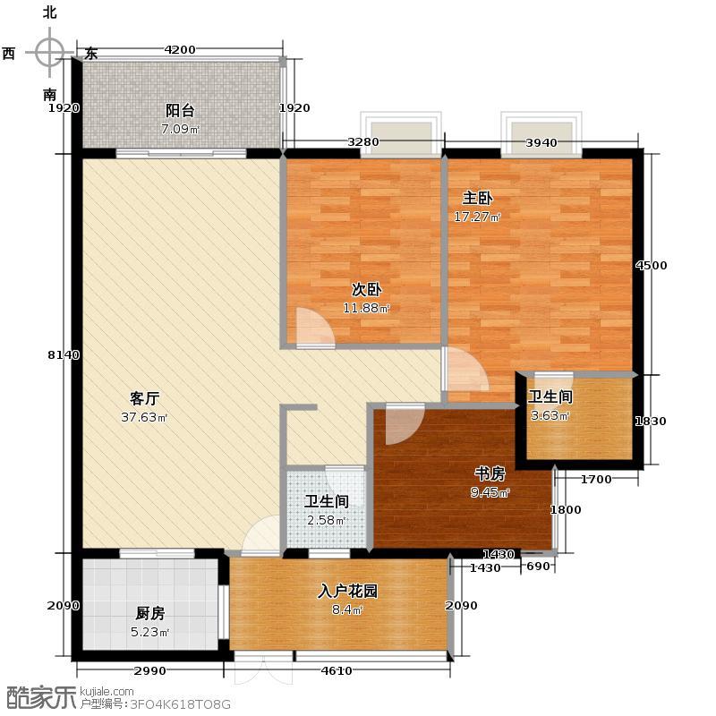 花果园128.91㎡F19户型3室1厅2卫1厨