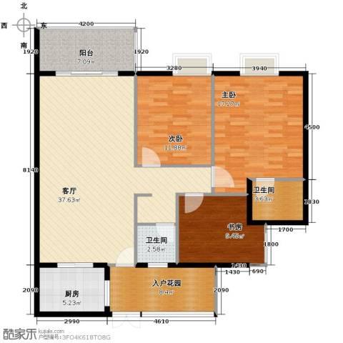 花果园3室1厅2卫1厨129.00㎡户型图