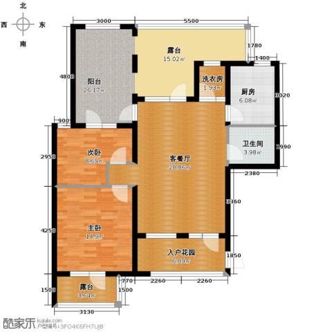 鸿坤・罗纳河谷2室1厅1卫1厨104.00㎡户型图