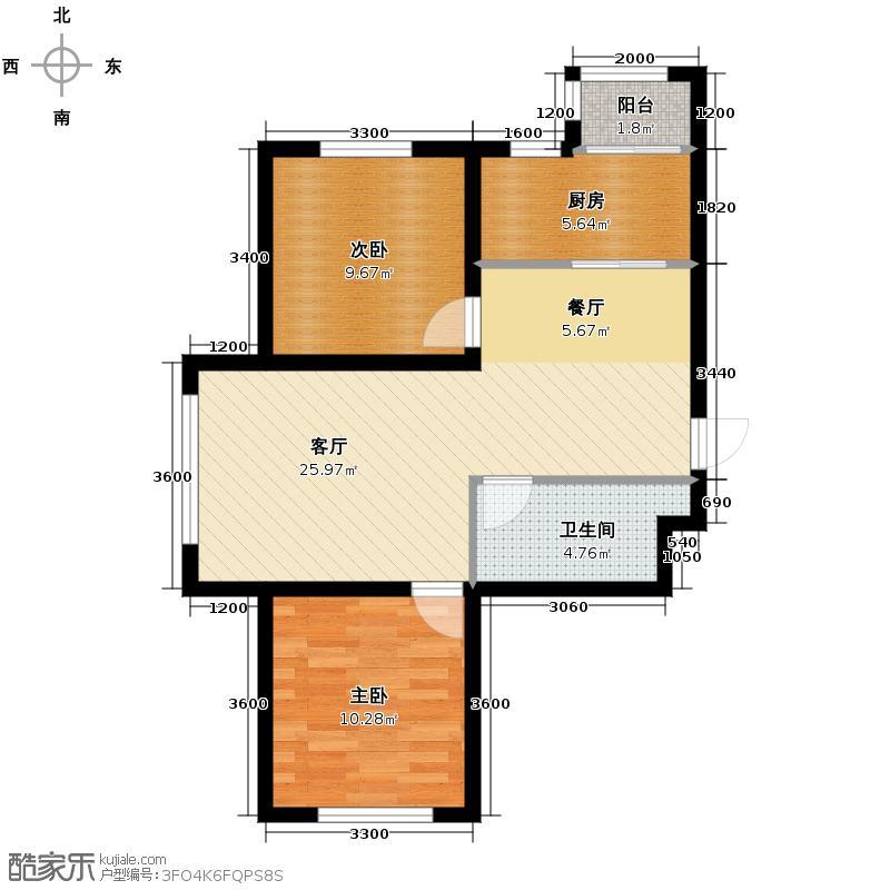兆丰凯旋明珠80.79㎡高层3#楼A户型2室2厅1卫