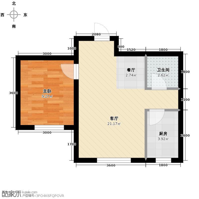 兆丰凯旋明珠51.11㎡高层3#楼B户型1室2厅1卫