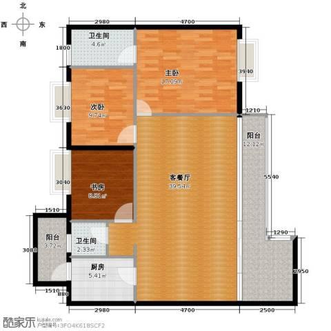花果园3室1厅2卫1厨130.00㎡户型图