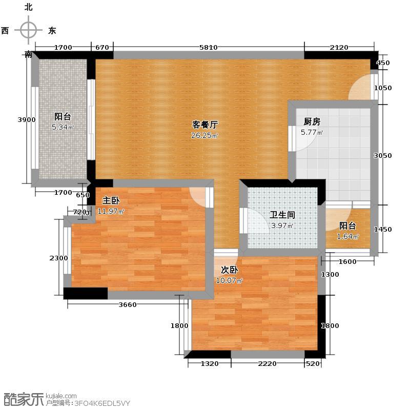 渝开发上城时代67.00㎡B5b户型2室1厅1卫