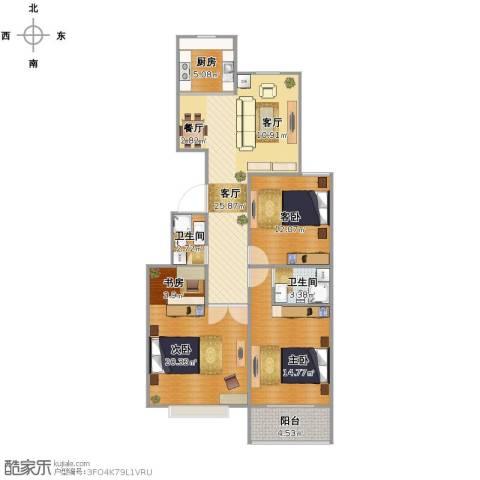 馨园丽景3室1厅2卫1厨120.00㎡户型图