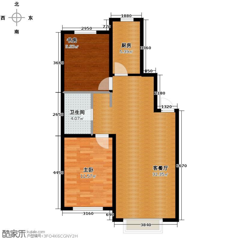 新湖御和园96.82㎡E4户型2室2厅1卫