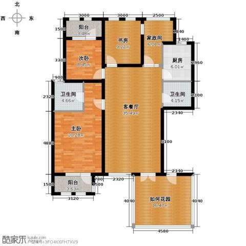 鸿坤・罗纳河谷3室1厅2卫1厨136.00㎡户型图