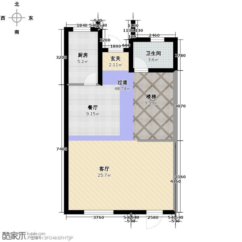 拉斐水岸70.32㎡E1b一层平面图户型10室