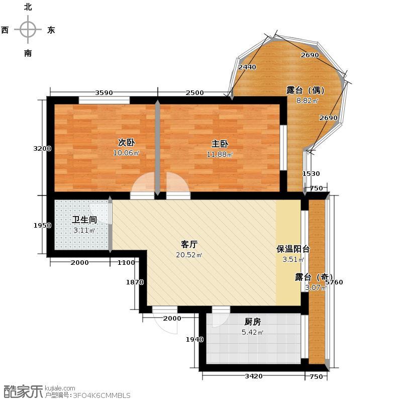 富达蓝山46.25㎡10#楼户型2室1厅1卫