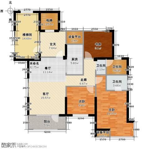 华府丹郡3室2厅2卫0厨124.00㎡户型图
