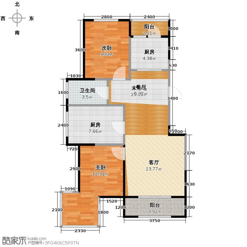 溪湖芳庭90.52㎡B7-a户型3室2厅1卫