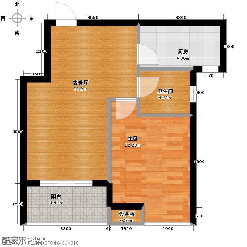 曼城59.10㎡E1户型1室1厅1卫1厨