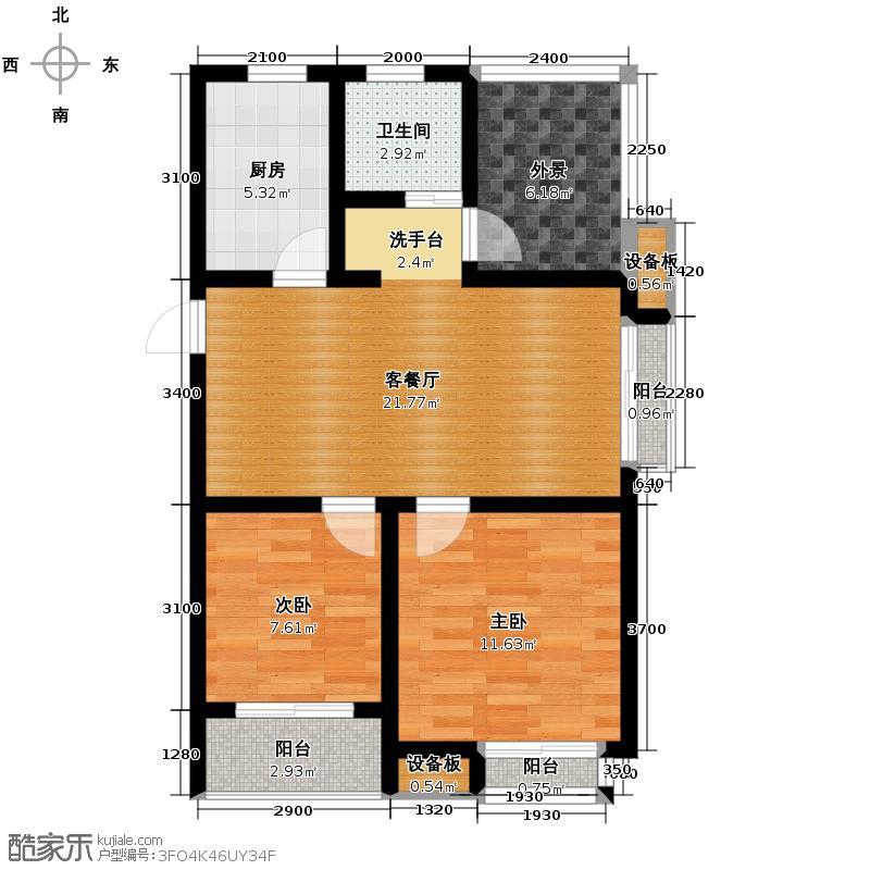 观邸国际公寓72.86㎡户型2室1厅1卫1厨
