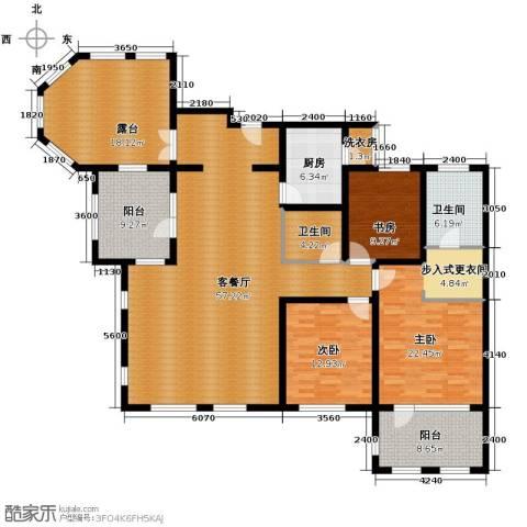 鸿坤・罗纳河谷3室1厅2卫1厨175.00㎡户型图