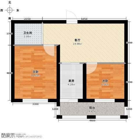 天润中华城2室1厅1卫0厨52.62㎡户型图