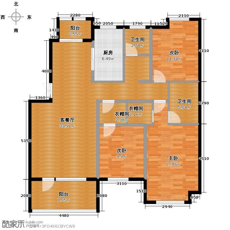 保利海上五月花134.00㎡Am/2户型3室2厅2卫