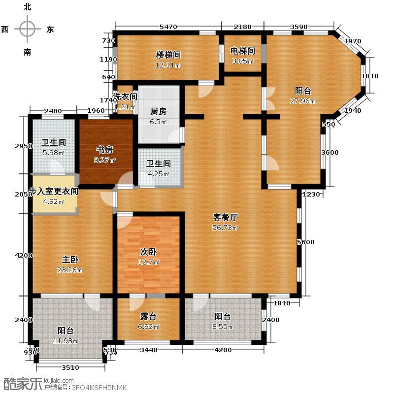 鸿坤・罗纳河谷195.00㎡鸿坤罗纳河谷果岭墅B3户型3室1厅2卫1厨