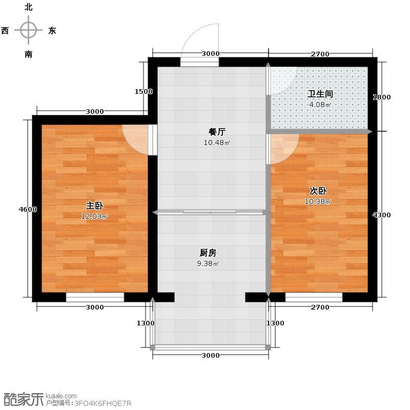 华亨名城52.47㎡户型2室1厅1卫1厨