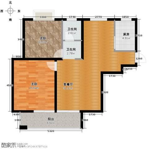 滨湖品阁2室1厅1卫1厨97.00㎡户型图