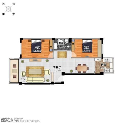 扬州城2室1厅1卫1厨103.00㎡户型图