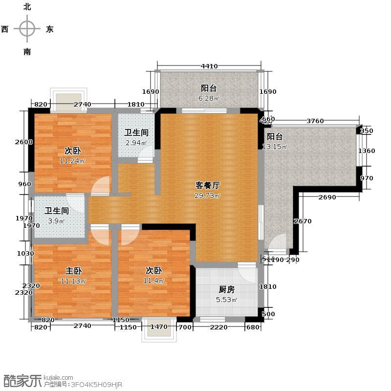 龙博御景118.00㎡2011年3月26开盘6号楼-01双卫户型3室1厅2卫1厨