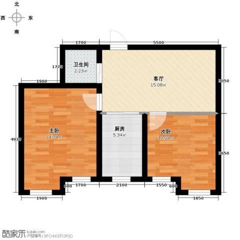 天润中华城2室1厅1卫0厨54.38㎡户型图