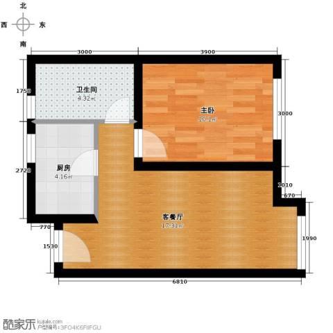 永定河孔雀城英国宫1室1厅1卫0厨50.00㎡户型图