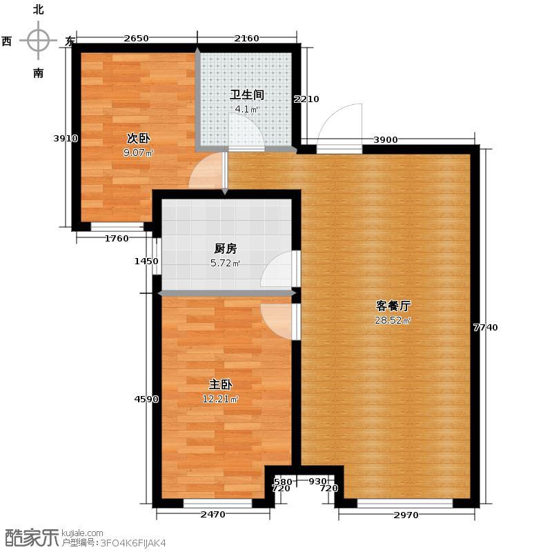 永定河孔雀城英国宫80.50㎡A1户型2室2厅2卫