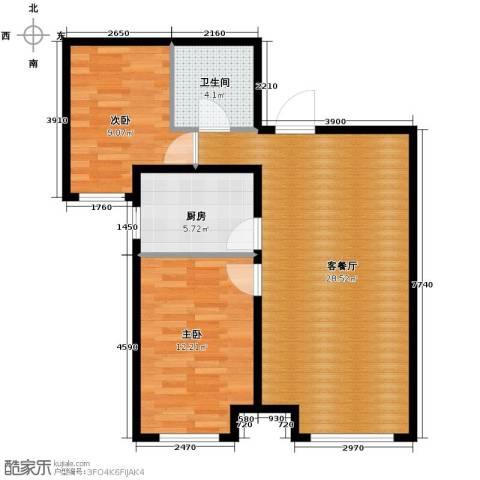 永定河孔雀城英国宫2室2厅2卫0厨66.31㎡户型图