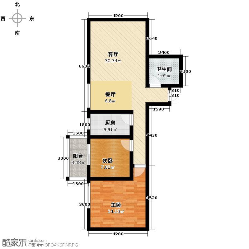 上水观园94.24㎡E户型2室2厅1卫