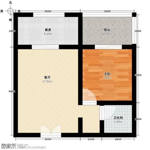 上水观园1室1厅1卫0厨55.00㎡户型图