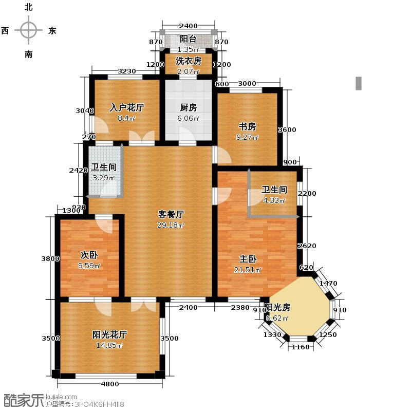 鸿坤・罗纳河谷135.00㎡鸿坤罗纳河谷果岭墅A4a户型3室1厅2卫1厨