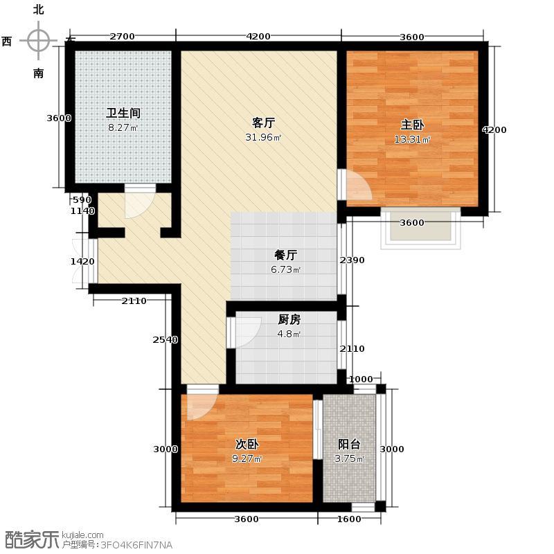 上水观园97.19㎡D户型2室2厅1卫