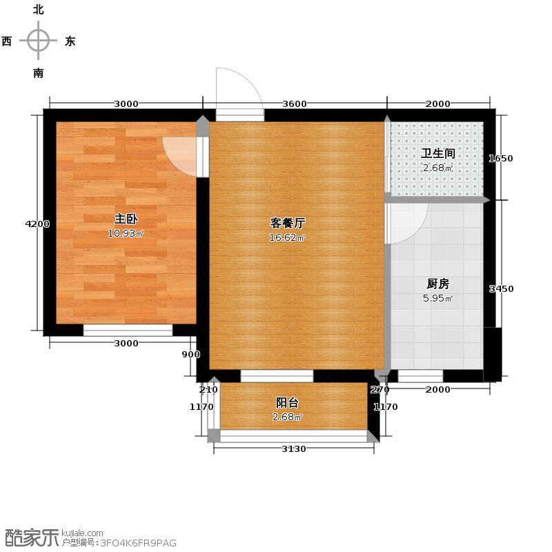 荣旺天下54.64㎡二期D5号楼A户型1室2厅1卫