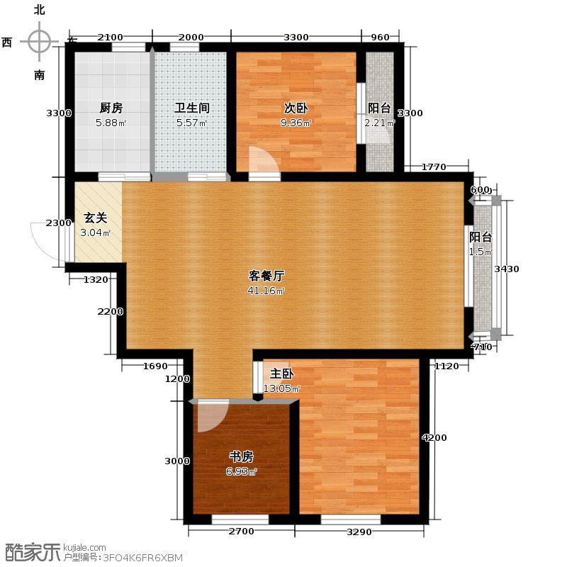 荣旺天下117.20㎡二期D5号楼E户型3室2厅1卫