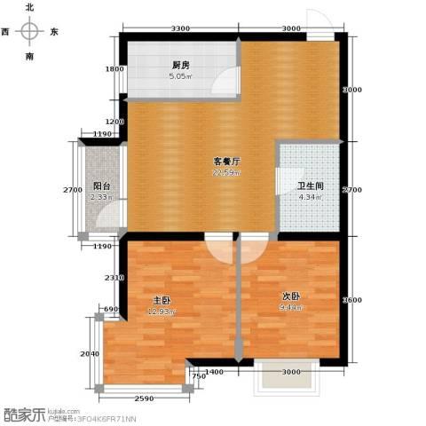 瑞赛居圣苑2室1厅1卫1厨82.00㎡户型图