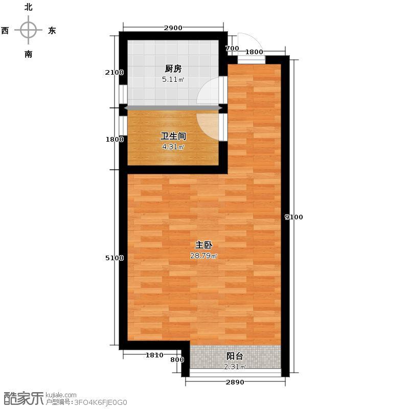凤河・孔雀英国宫44.74㎡15号楼户型1室1厅1卫