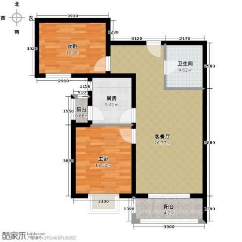凡尔赛公馆2室1厅1卫1厨92.00㎡户型图