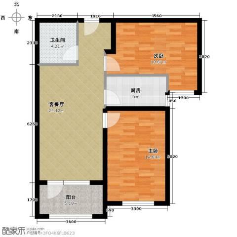 永定河孔雀城剑桥郡2室1厅1卫1厨95.00㎡户型图