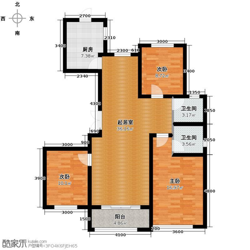 凤河・孔雀英国宫134.44㎡6号楼户型3室2厅2卫