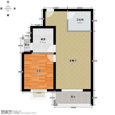 凡尔赛公馆1室1厅1卫1厨77.00㎡户型图